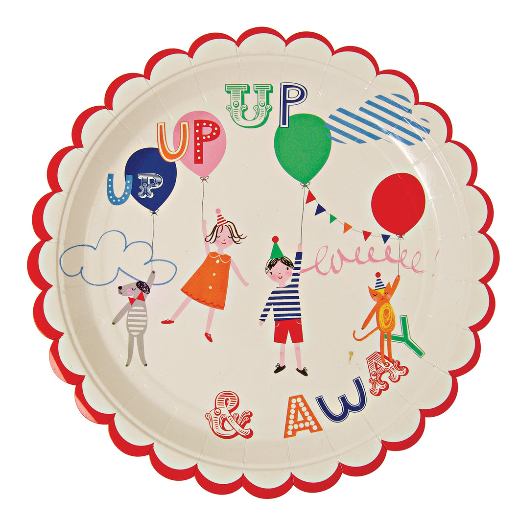 A lovely children's party plate illustrated with a pair of party tots and their critters riding high in the clouds. The plate is finished with a red scallop edge.  Pack contains 12 plates Plate size 9 inch diameter by Meri Meri
