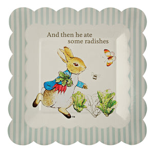 "Though Peter Rabbit is now well over 100 years old, Beatrix Potter's charming creation is as beloved as ever, making him and his friends the perfect special guests for any celebration. That's why they feature on these simply delicious party plates. Available in packs of 12 and featuring the ever charming Peter Rabbit and the line, ""And then he ate some radishes"", the plates are decorated with Potter's illustrations and a scallop edge design.   Small Pack of 12, size 7 1/2"" x 7 1/2"""