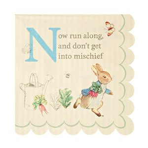 "Though Peter Rabbit is now well over 100 years old, Beatrix Potter's charming creation is as beloved as ever, making him and his friends the perfect special guests for any celebration. That's why they feature on these simply delicious party napkins. Available in packs of 20 and featuring the ever charming Peter Rabbit and the classic words of Beatrix Potter, ""Now run along, and don't get into mischief"", the napkins are decorated with Potter's illustrations and a scallop edge design.   Small Pack of 20"