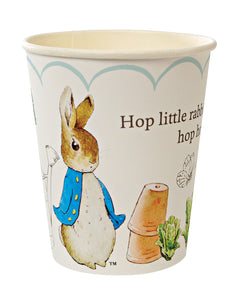 "Though Peter Rabbit is now well over 100 years old, Beatrix Potter's charming creation is as beloved as ever, making him and his friends the perfect special guests for any celebration. That's why they feature on these sweet party cups. Available in packs of 12 and suitable for hot or cold drinks, these cups are decorated with the classic illustrations of Beatrix Potter, together with the never-to-be-forgotten line, ""Hop little rabbit, hop hop hop""!   Pack of 12 Suitable for hot & cold drinks"