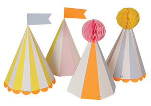 These colorful party hats come with crazy flags and pom-poms giving you all the fun of the circus. With stripey patterns and neon borders, finished with a scollop edge. Pack contains 8 party hats in 4 designs. Hat size: 5 x 5 x 7 inches.