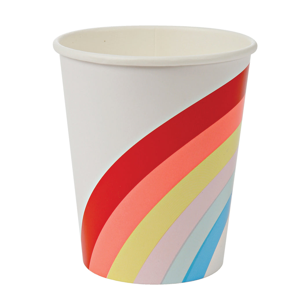 These bright and fun party cups are decorated with all the colors of the rainbow. Perfect for a summer celebration. Pack contains 12 hot or cold party cups. Cup size: 9oz.