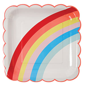 rainbows and unicorns party kit for 12. rainbow plates, cups and napkins with red table cover and red forks