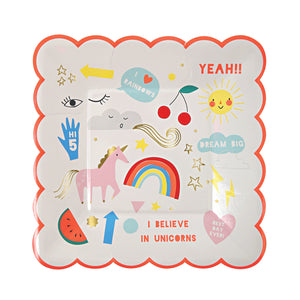 These party plates are decorated with lots of fun illustrations and captions including a magical unicorn and rainbow. The plate is finished with a scollop edge and embellished with shiny gold foil. Pack contains 8 plates. Plate size: 7 x 7 inches.