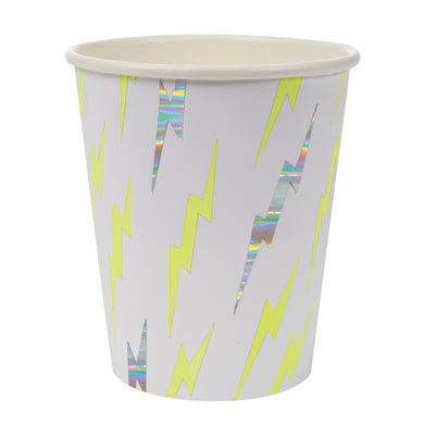 Whether it's underpants over pants, a cut-out mask or a dish cloth cape, if your little one is a wannabe superhero then you definitely need to check out our Super Hero party collection! These cool party cups are full of electric energy, decorated with zap patterns embellished with shiny silver foil.   Pack of 8 Suitable for hot & cold drinks Neon print & holographic silver detail