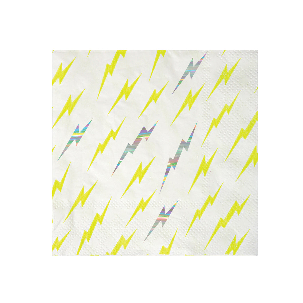 Whether it's underpants over pants, a cut-out mask or a dish cloth cape, if your little one is a wannabe superhero then you definitely need to check out our Super Hero party collection! These cool paper napkins are full of electric energy, decorated with cartoon patterns embellished with shiny holographic silver foil.   Small Pack of 16 Neon print & holographic silver detail