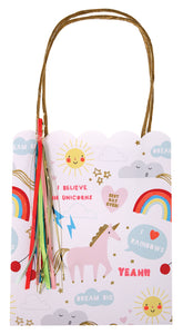These colorful party bags are filled with the magic of unicorns and rainbows. They are embellished with gold twisted paper handles, shiny gold foil and colored ribbons.  Bag size: 6 x 5 x 3 inches.