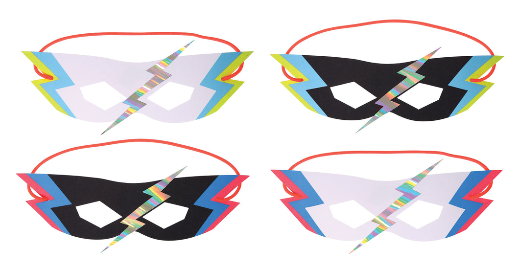 Whether it's underpants over pants, a cut-out mask or a dish cloth cape, if your little one is a wannabe superhero then you definitely need to check out our Super Hero party collection! Kit out a gang of superheroes with these amazing party masks. Each mask is decorated with a lightning zap in shiny silver, holographic foil.   Pack of 8 in 4 designs Neon print & holographic silver detail