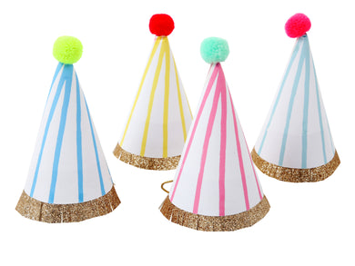 Get your guests in the party mood from the get-go with these brilliant mini party hats! Each hat is decorated with a stripy pattern and finished with a gold glitter band with colorful pompom at the top.   Pack of 8 in 4 colors Neon pompoms Gold glitter fringe detail