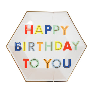Happy Birthday neon party supplies. Must Have Party Kit includes:  8 party plates 20 small napkins 8 party cups 1 blue rectangular table cover 20 blue forks by Meri Meri