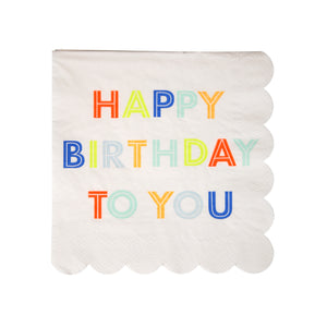 Happy Birthday Neon Small Napkins by Meri Meri  9781534001305