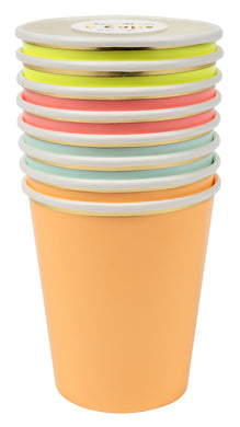 If you're looking to add a dash of colour and character to your party space, then for starters you can't go wrong with our cheerful Neon collection - high quality tableware featuring a range of bold, bright colours and beautiful gold foil. Plan your whole decor around these striking shades, or mix and match with other colours, patterns and themes.   Pack of 8 in 4 colors Suitable for hot & cold drinks Neon print & gold foil detail