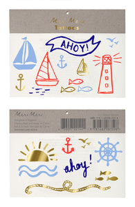 Ahoy There Pirate. 2 sheets of ahoy, sailboat, lighthouse and sunshine temporary tattoos by Meri Meri