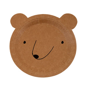 Let's Explore must have party kit, contains brown bear plates, white outdoor design plates and cups along with white table cover and white forks