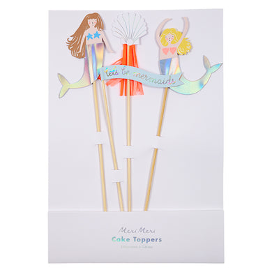 Decorate your mermaid party cakes with these delightful cake toppers, featuring mermaid characters embellished with shiny foil tails and seashells, with crepe paper tassels. Pack contains 4 cake toppers.