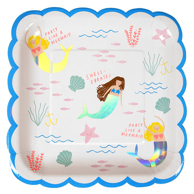 An underwater world features on these colorful plates, helping you to party like a Mermaid! Each mermaid's tail is embellished with shiny, iridescent foil. The plates are finished with a scollop edge. Pack contains 8 plates. Plate size: 9 x 9 inches.