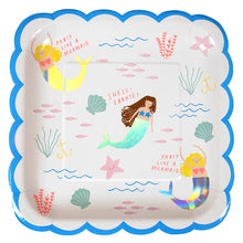 Let's Be Mermaids by Meri Meri. Featuring white plates with mermaid design, napkins with mermaid design, iridescent cups, pink table cover and pink forks