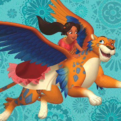 Dsney Elena of Avalor Napkins, 16 per package, Elena riding a jacquin