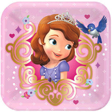 Must Have Party Kits for 8 includes:  8 Pink Sophia the First plates 16 Sophia the First napkins featuring Sophia's castle 8 Sophia the First cups featuring Sophia's carriage 1 Pink Sophia the First table cover  20 pink forks