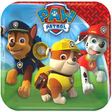 "Must Have Party kit for 8 children includes:  8 7"" square plates 16 luncheon napkins 8 9"" party cups 1 Paw Patrol table cover 54"" x 96"" 20 red forks"