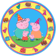 Must Have party kit for 8 includes:  8 Peppa Pig Plates featuring Peppa Pig, Daddy Pig, Mommy Pig and George 16 Peppa Pig Napkins featuring Peppa Pig eating cake 8 Peppa Pig Cups featuring Peppa Pig and family 1 Peppa Pig table cover featuring Peppa Pig eating cake and holding balloons 20 pink forks