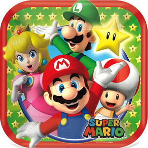 Must Have party kit for 8 includes:  8 Super Mario Brothers plates featuring Mario, Luigi and friends 16 Super Mario Brothers napkins  8 Super Mario Brothers cups featuring Mario, Luigi and friends 1 Super Mario Brothers table cover featuring Mario, Luigi and friends 20 red forks