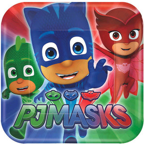 Must Have Party kit for 8 includes:  8 red, blue and green PJ Masks Plates featuring Catboy, Owlette and Gekko 16 red, blue and green PJ Masks Napkins featuring Catboy, Owlette and Gekko 8 red, blue and green PJ Masks cups featuring Catboy, Owlette and Gekko 1 PJ Masks table cover 20 red forks