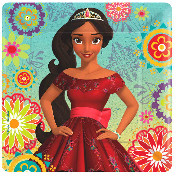 Must Have Party Kit for 8 includes:  8 Elena of Avalor plates featuring Elena of Avalor 16 Blue Elena of Avalor napkins featuring Elena on a Jaquin 8 Elena of Avalor cups featuring Elean of Avalor 1 Elena of Avalor table cover featuring Elena of Avalor dancing 20 red forks
