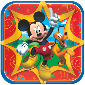 Let's Celebrate with our favorite mouse, Mickey!!!!  Must Have Kit includes:  8 Mickey Mouse square plates 16 Mickey Mouse napkins 8 Mickey Mouse cups 1 Mickey Mouse red table cover 20 blue forks