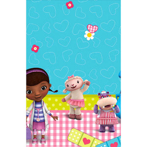 "Disney Doc McStuffins table cover with characters, size 54"" x 96"""