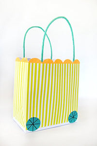 These brightly patterned party bags are finished with little wheels and are part of the Silly Circus party range. They come with twisted paper handles and have a scollop edge top.  Party bag size: 5.5 x 5 x 3 inches