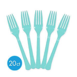 Robins Egg Blue Plastic Forks by amscan  013051267162