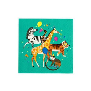 "Your party will be wild with these animal plates. Perfect for zoo parties and more.  Pack of 20 napkins size 6"" x 6"""