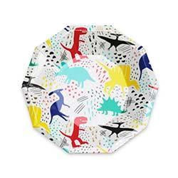 Roar! featuring bold colors and gold foil-pressed elements, these dinosaur plates are definitely dino-mite!  illustrated by carolyn suzuki for daydream society package contains 8 paper plates each plate measures approximately 7.5 inches from corner to corner not safe for microwave use