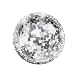 "Perfect for a sparkly do, these disco ball design paper plates feature shiny foil detail for added effect!  Each pack contains 12 paper plates 18cm (7"") in diameter. Sure to grab your guests attention, these plates are perfect for nibbles at a new year's eve party and more!"