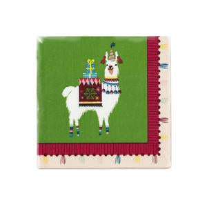 These cocktail napkins with adorable festive llama prints are fabulous for festive holiday parties! Match these napkins with our festive llama plates!  The napkins come in 20 per pack
