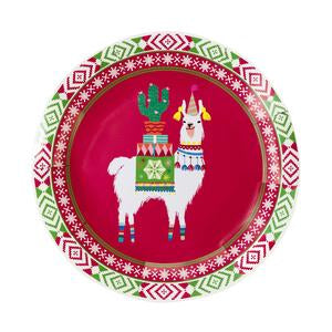 Want to brighten your party with festive holiday tableware? Can't get over with adorable llamas? These round plates with llama design will be your perfect match!  These plates come in 8 per pack. Diameter: 9