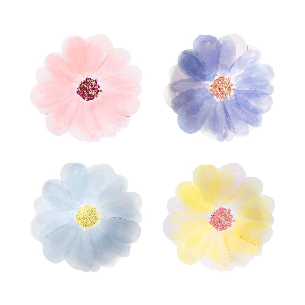 These gorgeous small Flower Garden plates will bring the beauty of Springtime to your table. Brightly colored with shiny goil foil detail.   Printed both sides Neon print & gold foil detail 4 colors Pack of 8 Product dimensions: 7.5