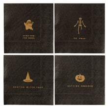 "Add some make your monster mash spooktacular this year with these gold foiled Halloween cocktail napkins. With ghostly puns and eye catching icons, these napkins are sure to be a hit at your haunted house party. Whether you are planning a costume and cocktails soiree, or a wicked good time for all ages, prove you're the potions master by including these delightfully frightful party napkins.  • 5"" x 5"" Folded Size • 24 Napkins per Pack • 4 designs, 6 of each design • Gold Foil • Do Not Microwave"