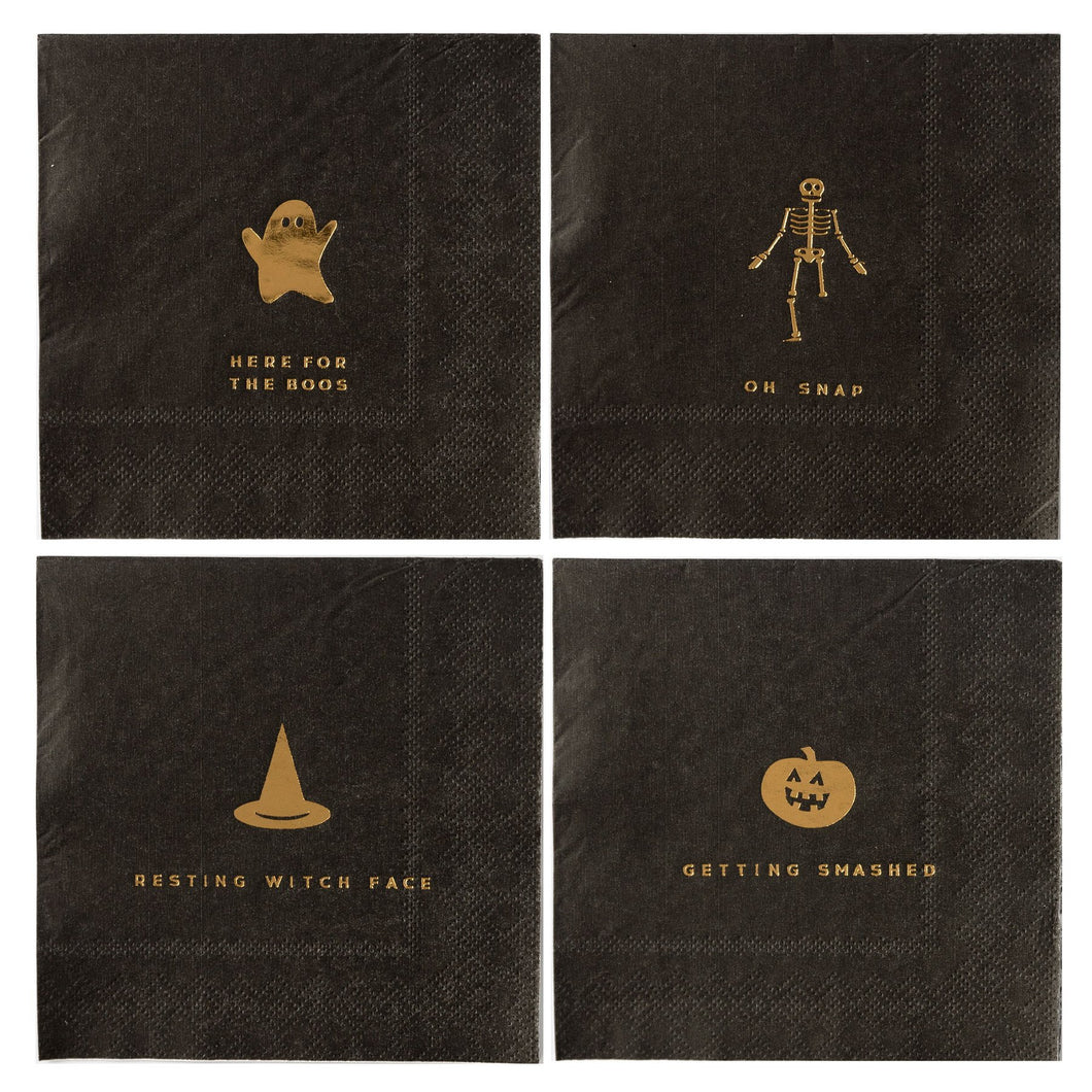 Add some make your monster mash spooktacular this year with these gold foiled Halloween cocktail napkins. With ghostly puns and eye catching icons, these napkins are sure to be a hit at your haunted house party. Whether you are planning a costume and cocktails soiree, or a wicked good time for all ages, prove you're the potions master by including these delightfully frightful party napkins.  • 5