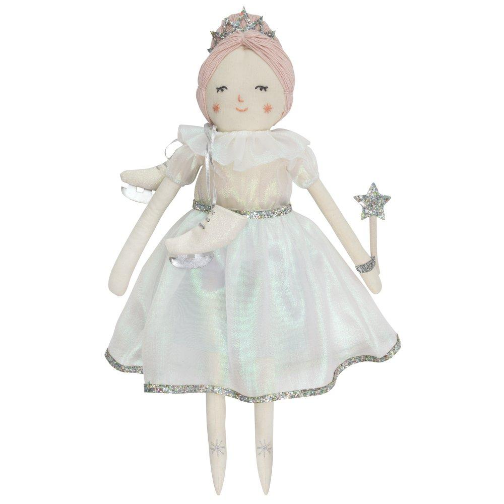 Little people will love to make friends with Lucia, the beautiful ice princess doll, one of the wonderful Meri Meri classic fabric doll family. She's expertly crafted from calico, with pretty pink wool hair and sweet embroidered features. Stylishly outfitted in an iridescent dress with glitter detail, but she can easily be changed into any of our doll dress-up kits. She also comes with amazing accessories, ready for a wintry adventure, including ice-skates, a tiara and a wand.  Cotton with polyester filling