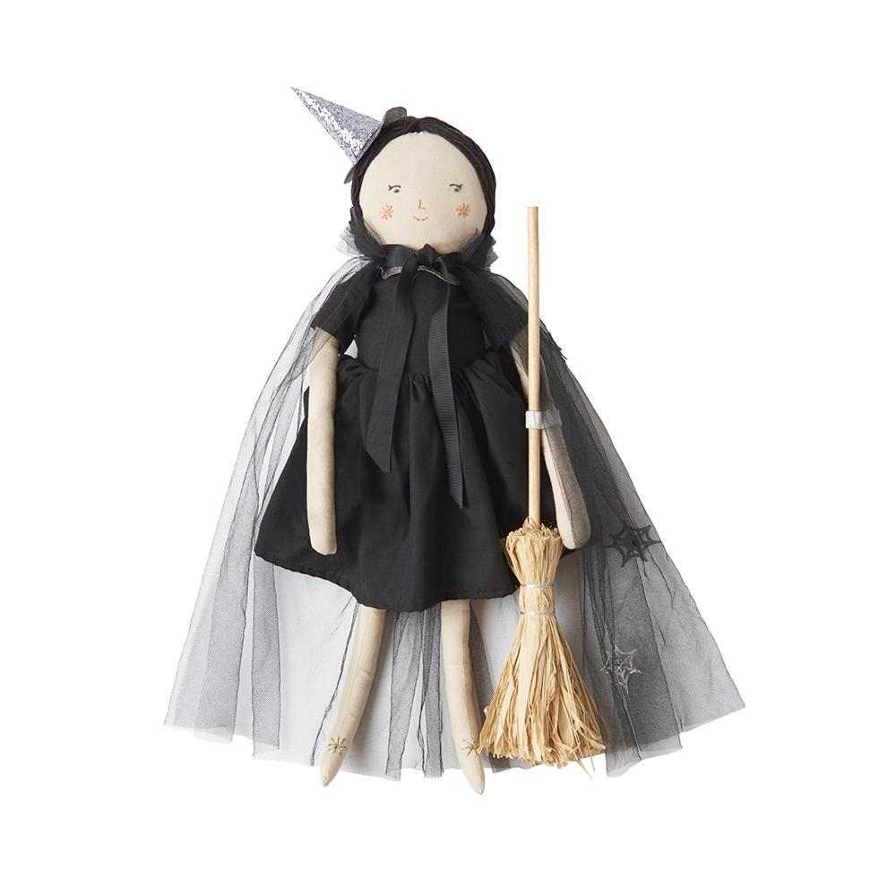 If your little one is working on her magic, she'll be great friends with Luna, our beautiful witch doll! Cotton with polyester filling Stitched features with black yarn hair Silver thread detail Black dress, tulle cobweb cape, cat, hat & broom accessories Size: 19.68