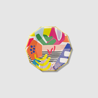 Our petite Matisse Small Plates are an elevated solution for everything from passed hors d'oeuvres to slices of birthday cake. Featuring our exclusive colorful graphic and a tasteful geometric shape, these paper plates are a work of art unto themselves.  7.25