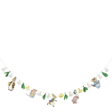 This charming garland, featuring the wonderful Peter Rabbit and friends and pretty flowers, will look amazing at any party. Perfect for birthdays or baby showers.   5 character & 6 floral pennantsPre-strung on natural cord  Product length: 10 feet