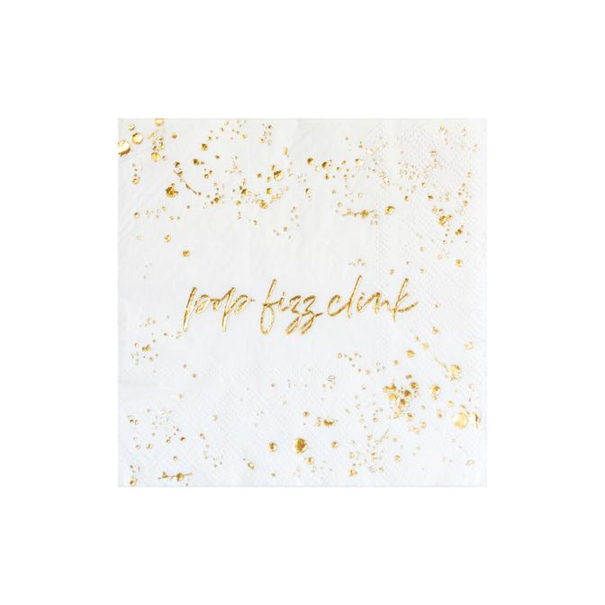 With splashes of gold details, our 'Pop Fizz Clink' cocktail napkins are perfect for weddings, birthdays, holidays and special gatherings. They look great on dessert tables or on the bar cart.  Colors: White, gold foil Cocktail napkins Paper Approx. 5