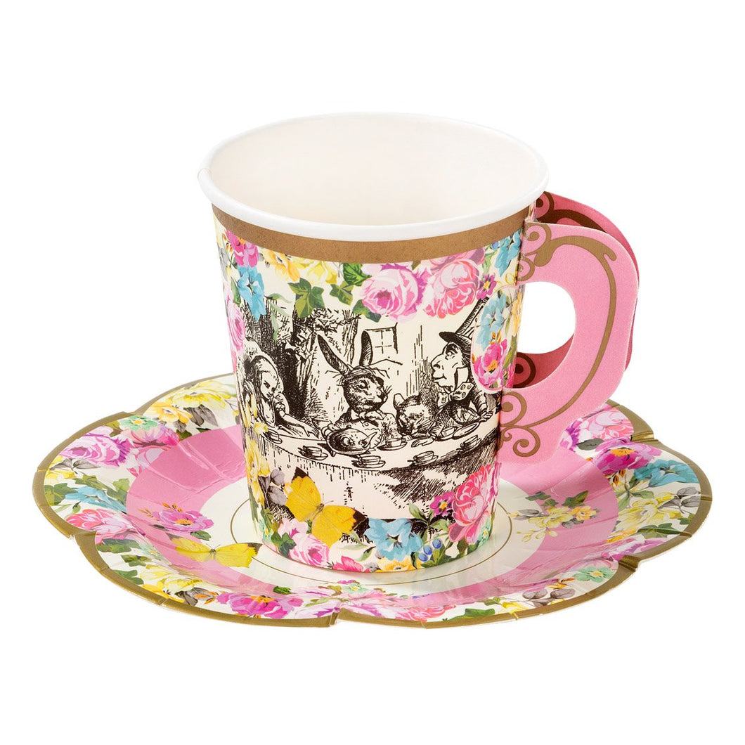 """…it's always tea-time, and we've no time to wash the things between whiles."", which makes these delightful paper cups and saucers a brilliantly whimsical addition to any Mad Hatter's tea party.  From the bestselling Truly Alice range, each pack contains 12 paper cups and saucers with the classic floral vintage tea-party feel. Volume 7 oz., not for use with hot drinks"