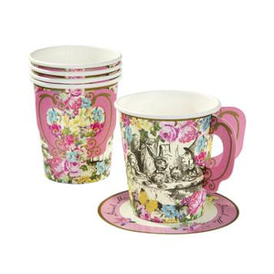 Truly tasteful, our gorgeous Truly Alice Whimsical Cup & Saucers are an ideal companion for all tea time treats. Featuring an intricate Mad Hatters tea party illustration and a colourful floral design, our tea time essential also features a delightful pink handle and saucer.   An elegant addition to any afternoon tea, our pack of 12 paper cups and saucers match perfectly with our Truly Alice Dainty Plates to bring your party table to life.