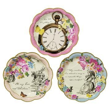 Serve up your very own mad hatters tea party with these beautifully illustrated Truly Alice dainty plates. Each pack contains 12 paper plates and come in 3 colourful designs, including a pocket watch design with pink floral trim, March hare with cream floral trim, and a blue floral trim with Alice illustration.   An adorable addition to any afternoon tea, each plate is perfectly suited for any tasty treat. Why not team your paper plates with our Truly Alice whimsical cups and saucers to add the magic touch