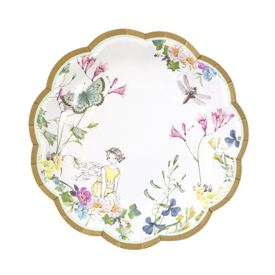 It's every little'uns fairy birthday dream with these quaint scallop edged paper plates.  Featuring 3 designs full of delicate fairies, butterflies and flowers, these plates come in packs of 12 and are ideal for a floral party for your little birthday fairy.   diameter 7