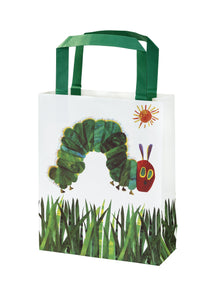 Fill these party bags with fruits, chocolate cake and cherry pie Hungry Caterpillar style as the perfect party favour for the little caterpillar guests.   This treat bag has a vibrant green design with everyone's favourite character, the very hungry caterpillar, along with a funky growing grass design.